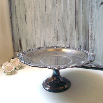 Vintage Silver Plate Pedestal Dish, Ornate Serving Dish, Distressed Silver Plate Bowl, Shabby Chic, Wedding Decor, Gift Ideas, Candy Dish