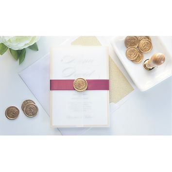 Burgundy and Gold Vellum and Wax Seal Wedding Invitation - DEPOSIT