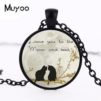 2017 new hot i love you to the moon and back Pendant Cute Double Cat Couple Necklace HZ1