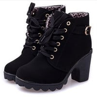 New platform high heel single shoes vintage Women Motorcycle Boots Martin Boots [7687796102]