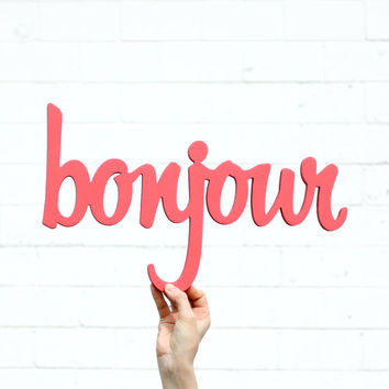 bonjour handmade wood sign - wall decoration for vintage or modern decor