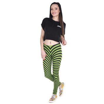 Green and Black Stripes Hypnotic Leggings
