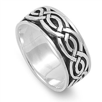 925 Sterling Silver Wicca Celtic Braid Spinner Ring 9MM