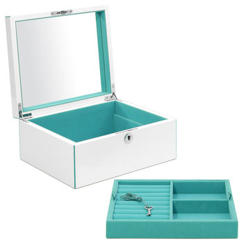 Aria Lacquer Large Jewelry Box Turquoise