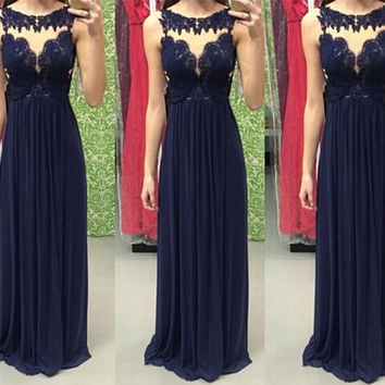 Sleeveless Long A-Line Prom Dresses,Prom Dress