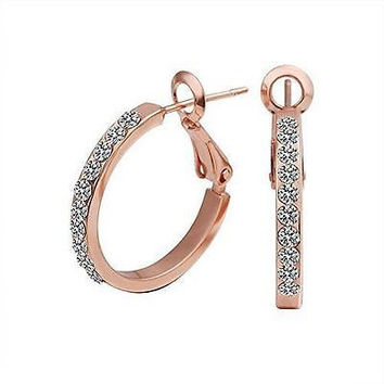 Basket Hill , 18k Gold Plated and Austrian Crystal Hoop Dangle Earring Earrings