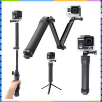 GoPro Accessories Collapsible 3 Way Monopod Mount Camera Grip Extension Arm Tripod Stand for Gopro Hero 4 2 3 3+ 2 SJCAM SJ4000