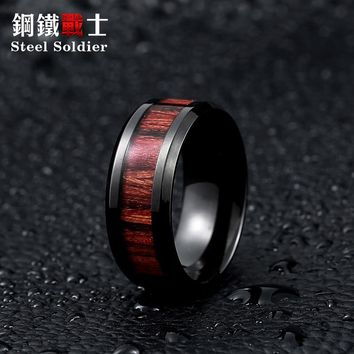 Steel Soldier Black Ring With Dark Red Wood Inlay Mens Ring