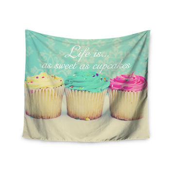 "Beth Engel ""Life Is As Sweet As Cupcakes"" Green Wall Tapestry"