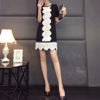 """Dior"" Temperament Fashion Beaded Lace Stitching Short Sleeve Mini Dress"