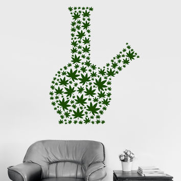 Wall Vinyl Decal Marijuana Bong Smoking Weed Smoke Cannabis Stickers (ig3105)