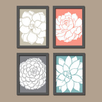 Beige Coral Gray Aqua Dahlia Floral Flower Flourish Design Artwork Set of 4 Prints Organic Bloom Bathroom Bedroom Wall Decor Art Kitchen