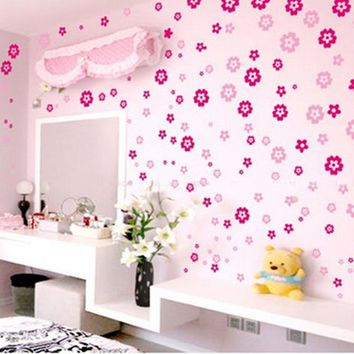 108Pcs 6 Colors Removable Fashion Flower Butterfly Mural Wall Art Sticker Door Window Decal Paper Home Decor