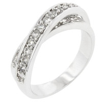 Double Cross Cubic Zirconia Ring, size : 05