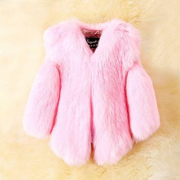 Baby Fur Vest New Girl Rabbit Fur Clothes Imitation Fox Fur Coat Kids Warm Vest Waistcoat Children Winter Jacke Faux Fur Coat
