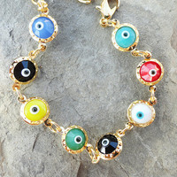 Multicolor evil eye bracelet, jewelry, gift, present, birthday, luck, christmas, xmas, colored, blue, red, yellow, white