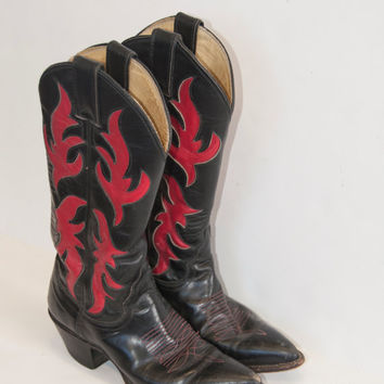 Red and Black Leather Justin Boots 6.5 7 - Womens 90s Unique Detailed Cowboy Boots | Boho Biker Cowgirl Boots PRISTINE