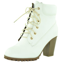 Womens Ankle Boots Rugged Lace Up High Heel Shoes White