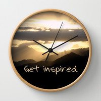 Get Inspired Wall Clock by Louise Machado