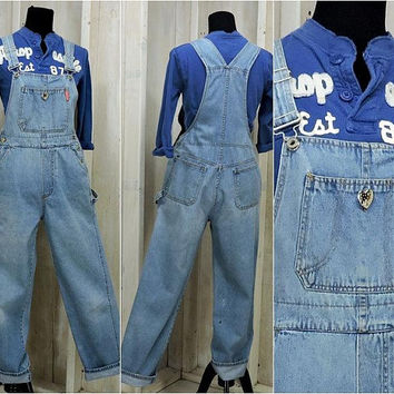 Vintage Overalls / denim bib overalls / size M / 80s womens overall jeans / light wash faded / grunge / wide leg / utility