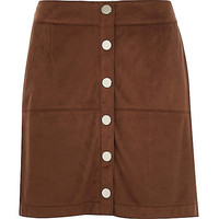 River Island Womens Brown faux-suede button up A-line skirt