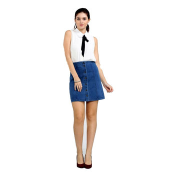 Button Down Denim Skirt, Indigo