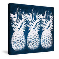 Indigo Pineapple Canvas Wall Art