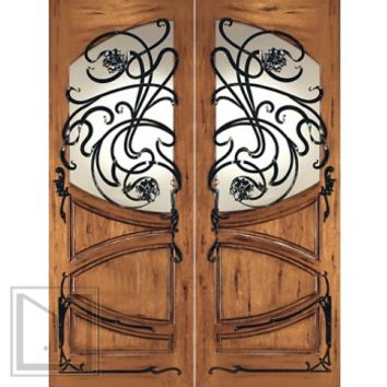 AN-2002-2 Mahogany Hand Carved Art Nouveau Forged iron Glass Entry Double Door