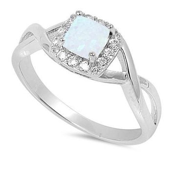 Sterling Silver Square White Opal and CZ Crossed Band Halo Ring