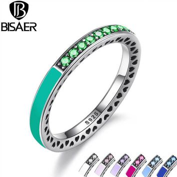 Authentic 925 Sterling Silver Radiant Hearts, Bright Mint Enamel & Royal Green Crystals Women Ring Wedding Jewelry GO7619