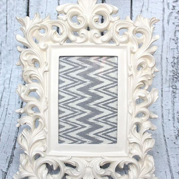 Ornate frame // ornate picture frame// Unique frame // 4x6 Frame // Resin Frame // Heirloom white Frame // bedroom decor // off white