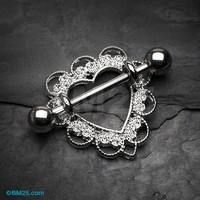 Heart Filigree Nipple Shield Ring