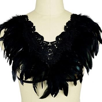Black Feather Wings Epaulettes Angel Wings Cosplay Costume Body Harness