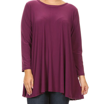 Plum Scoop Neck Tunic - Plus