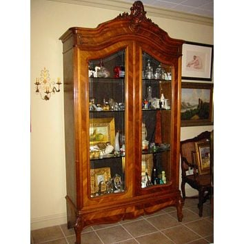 Rococo Style French Armoire Beveled Glass Panels Domed Pediment Vitrine