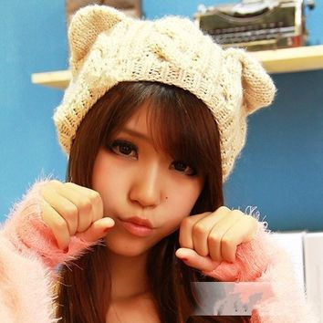 Korean Women Devil horns Cat Ear Crochet Braided Knit Ski Beanie Wool Hat Cap