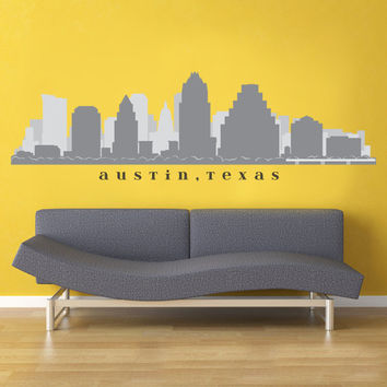 """Austin TEXAS Skyline Wall Decal Art Fabric Stick n peel Repositionable Decal 30"""" x 9"""" Living Room City and State Decals Office Decor"""