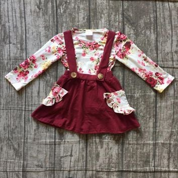 2 pieces sets girls Fall/winter clothes children girls floral top with wine red skirts sets clothing girls boutique clothes sets