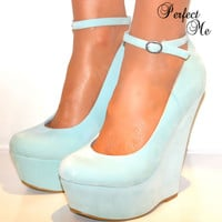 LADIES MINT GREEN HIGH WEDGE HEELS PLATFORM SHOE SANDAL ANKLE STRAPPY COURT 3-8