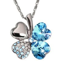 18k Gold Plated Swarovski Crystal Heart Shaped Four Leaf Clover Pendant Necklace - Aquamarine Blue: Jewelry: Amazon.com