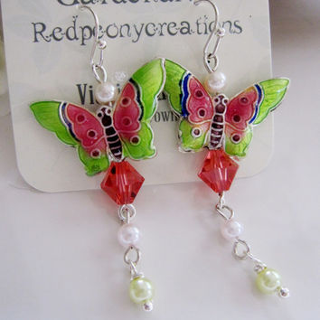Green Pink Butterfly Cloisonne Earrings, Long Dangles Pink Crystal, Pearl, Bohemian, Whimsical