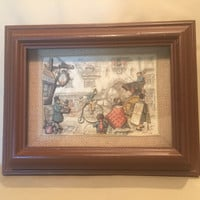 "Anton Pieck 1966 3-D Framed Shadowbox Art of ""Street Fair""/Diorama/Deep Wood Frame with Clear Glass/Anton Pieck Illustrator"