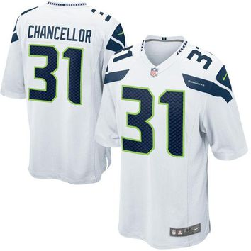 Mens Seattle Seahawks Kam Chancellor Nike White Game Jersey