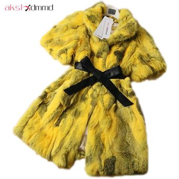 AKSLXDMMD 2017 New Hot Sale Autumn Winter Fashion Slim Mid-long Short Sleeve Real Rabbit Fur Vest Coat LY1808