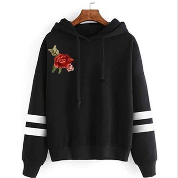 Autumn Elegant Women Red Rose Embroidery Long Sleeve Draw String Stripe Hooded Hoodies Sweatshirt Pullover Tracksuit NQ903976