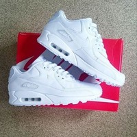 NIKE AIR MAX 90 fashion ladies men running sports shoes sneakers F-PS-XSDZBSH Pure white-1