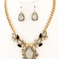 Head Turner Necklace Set - Grey