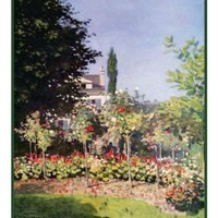 Garden at Sainte-Adresse inspired by Claude Monet's impressionist painting Counted Cross Stitch or Counted Needlepoint Pattern