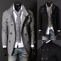 Double Breasted Men Fashion PEA Wool Coat SOS
