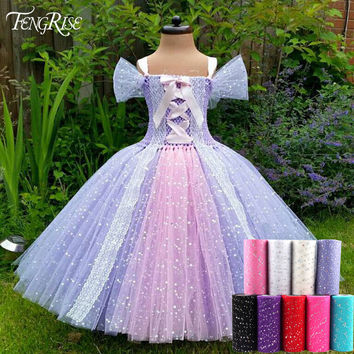 FENGRISE Sequin Tulle Roll 6 Inch 25 Yards Pink Sparkle Tutu Fabric Knit Apparel Sewing Mesh DIY Organza Tutu Skirt Accessories